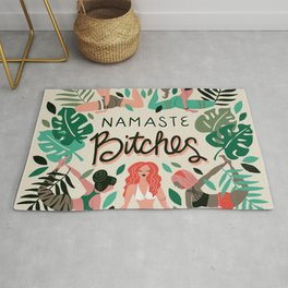 Namaste, Bitches – Green & Red Palette Rug