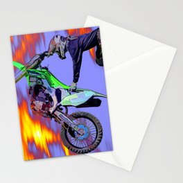 High Flying Freestyle Motocross Rider Stationery Cards