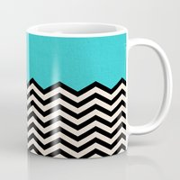 chevron Mugs featuring Follow the Sky by Bianca Green