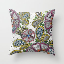 Patterned Flowers on a Grid Throw Pillow