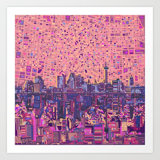 san antonio city skyline abstract 5 by bekimart