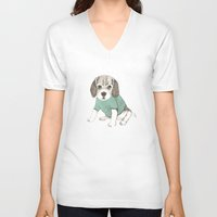 puppy V-neck T-shirts featuring puppy by maria elina