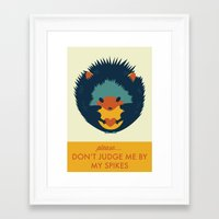 hedgehog Framed Art Prints featuring Hedgehog by Ariel Wilson