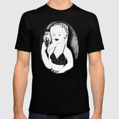 Girl with Lady Owl MEDIUM Mens Fitted Tee Black