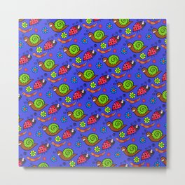 Cartoon Garden Bugs Metal Print