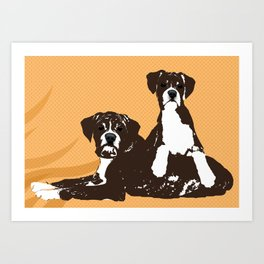 Two Boxer Dogs Art Print