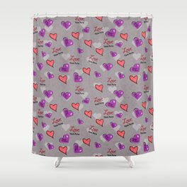 Love Your Path Hearts Shower Curtain