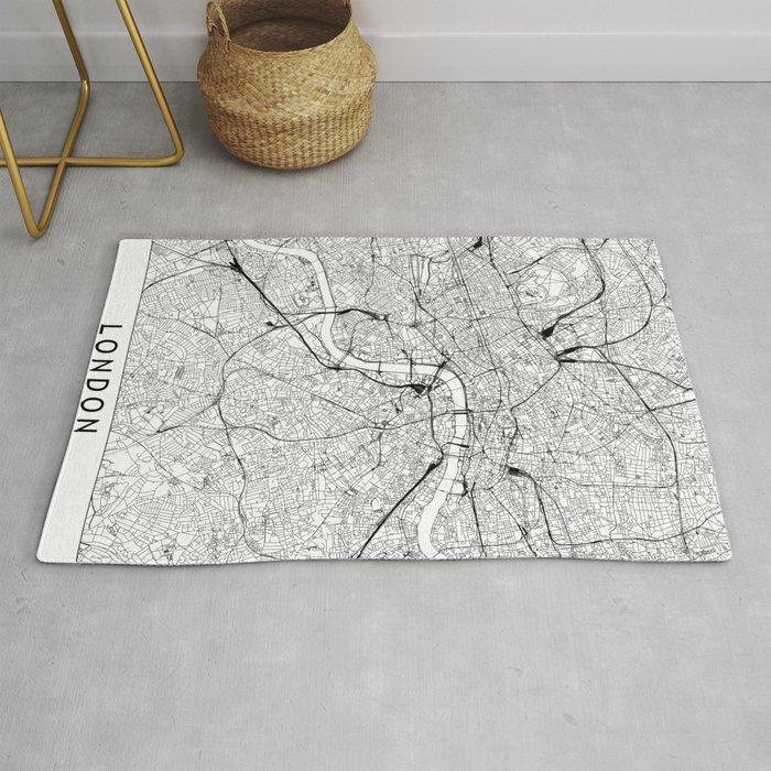 London White Map Rug