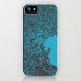 Melbourne map blue iPhone Case