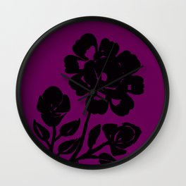 Royal Purple Rose Silhouette Original Design Done with Acrylics Wall Clock