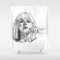 sia Shower Curtains featuring Sia Scribbles (Pen Art) by Aeriz85