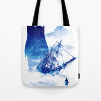 ship Tote Bags featuring Abandon Ship by Niel Quisaba