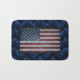 Cobalt Blue Digital Camo Chevrons with American Flag Bath Mat
