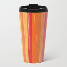 Orange and Yellow Stripes and Lines Abstract Metal Travel Mug