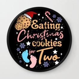 Eating Christmas Cookies For Two Christmas Gift Wall Clock