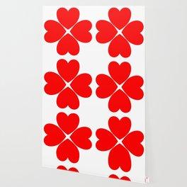 Four Leaf Loveheart Clover Wallpaper