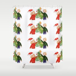 Girl and boy decorate a Christmas tree for Christmas Shower Curtain
