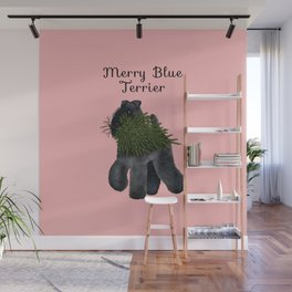 Merry Blue Terrier (Pink Background) Wall Mural