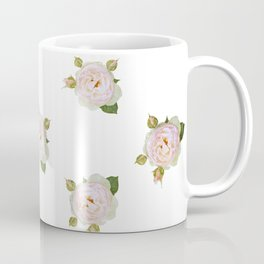 Vintage Pale Pink Roses on White Coffee Mug