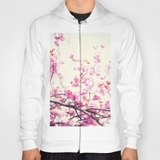 Pink cherry blossoms over white Hoody
