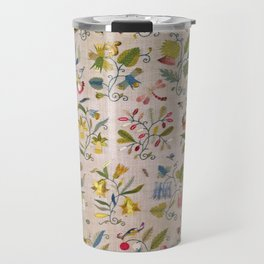 Vintage Floral Pattern With Delicate Flowers, Bees and Dragonflies On Beige, Digitally Enhanced Travel Mug