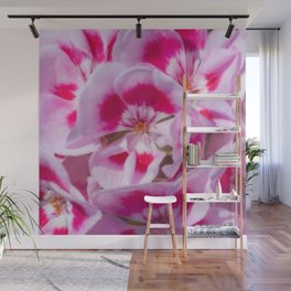 Red And White Flora Wall Mural