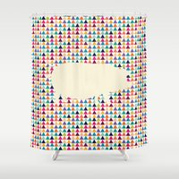 piglet Shower Curtains featuring Geometric Piglet  by ArtisanObscure Prints