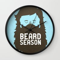 david Wall Clocks featuring Beard Season by Chase Kunz