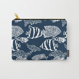 fish pattern vector illustration with stripes and dots Carry-All Pouch