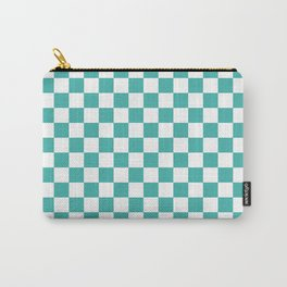 Small Checkered - White and Verdigris Carry-All Pouch