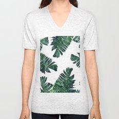 Banana Leaf Watercolor Pattern #society6 Unisex V-Neck