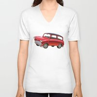 mini V-neck T-shirts featuring Mini by Sousuke Chihara