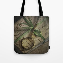 Old style loupe and vintage letters Tote Bag