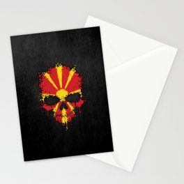 Flag of Macedonia on a Chaotic Splatter Skull Stationery Cards