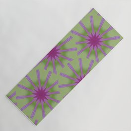 Retro Pink Starburst on Lime Yoga Mat