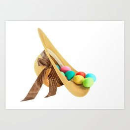 Colored Easter Eggs and woman hat Art Print