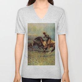 """Frederick Remington Western Art """"The Stampede"""" Unisex V-Neck"""