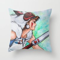 mononoke Throw Pillows featuring Mononoke by Kimberly Castello