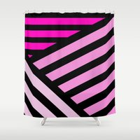 striped Shower Curtains featuring STRIPED {PINK} by natalie sales