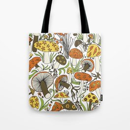 Hand-drawn Mushrooms Tote Bag
