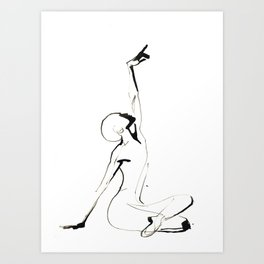 India Ink Dance Drawing Art Print