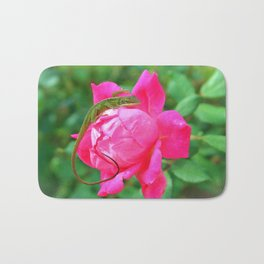 Baby Anole On Pink Rose Bath Mat