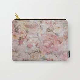 Vintage elegant blush pink collage floral typography Carry-All Pouch