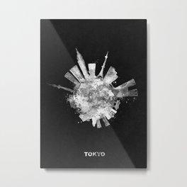 Tokyo Black and White Skyround / Skyline Watercolor Painting (Inverted Version) Metal Print