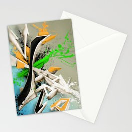 Extra grafitti 3d abstract design Stationery Cards