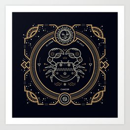 Cancer Zodiac Gold White with Black Background Art Print