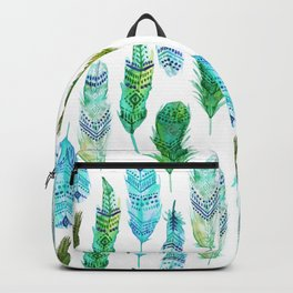 Watercolor Teal and Green Feathers Backpack