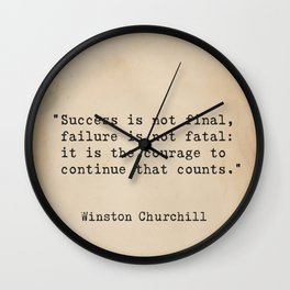 Churchill quote 9 Wall Clock