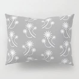 Modern Dandelions in Gray and White Pillow Sham