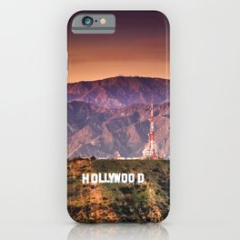 hollywood sign aerial view iPhone Case